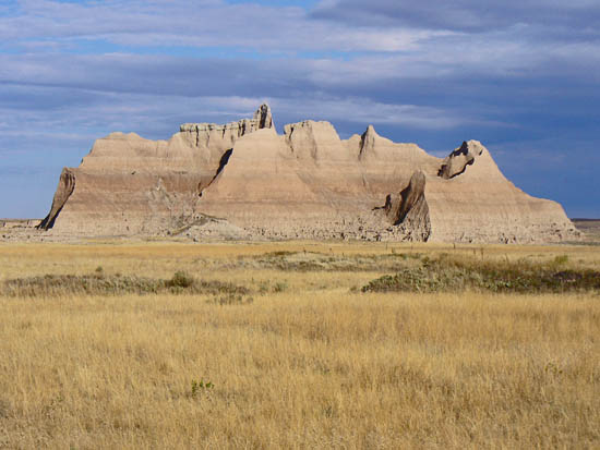 Open prairie and badland formations on the Medicine Root Trail